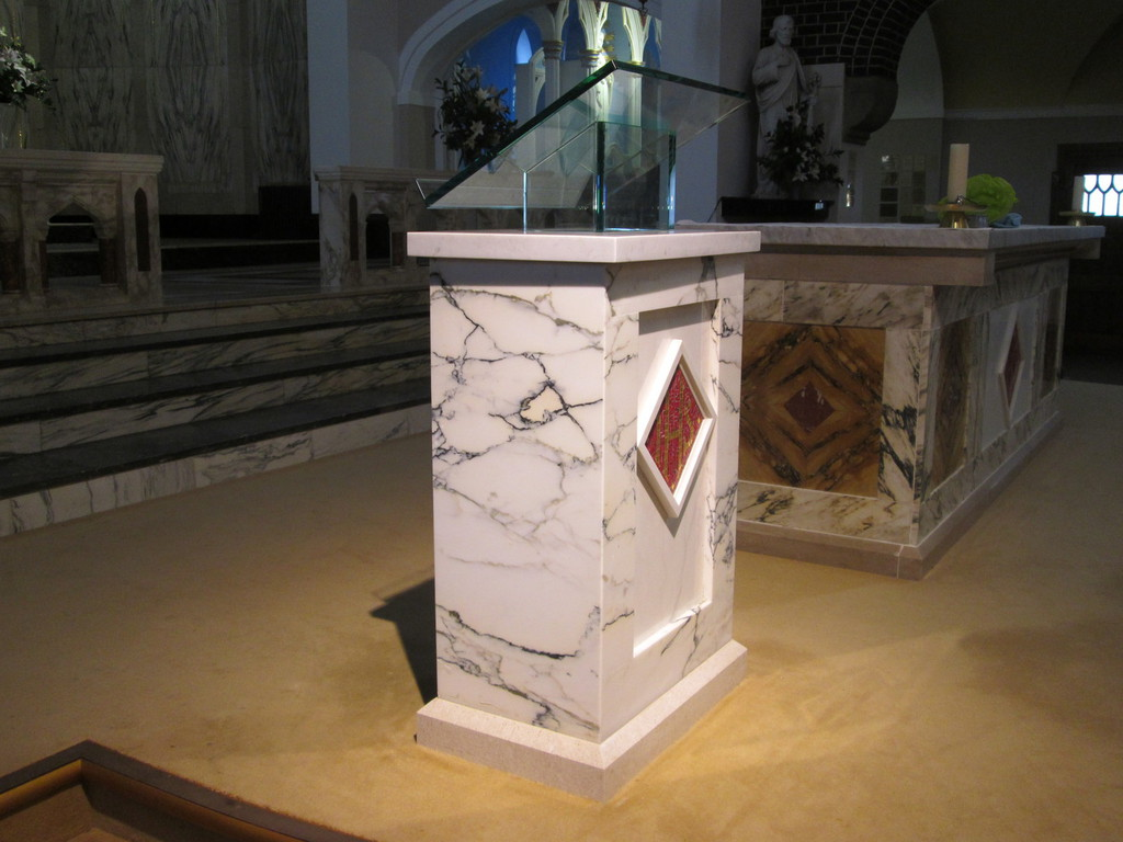 new marble Ambo to be installed at St Teresa' and the Child Jesus R.C Church, Norris Green.