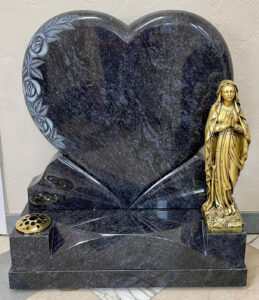 Polished Heart Shaped Gravestone with Gold Marble Statue of Our Lady of Lourdes