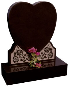 Polished Black Granite Lawn Type Heart shaped Gravestone with Heart Shaped Lettering Panel