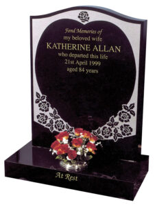 Polished Black Granite Lawn Type Ogee Headstone with Heart Shaped Lettering Panel