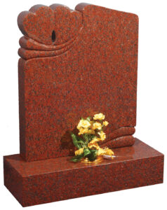 Ruby Red Granite Headstone featuring two interlocked hearts symbolising love