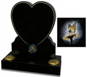 All Polished Black granite heart shaped headstone with a gilded pin line and coloured butterfly ornament.