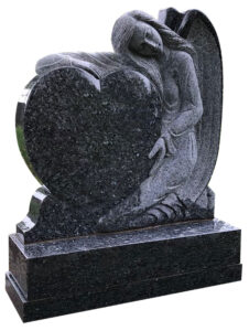 Carved sleeping angel holding love heart headstone in all polished blue pearl granite