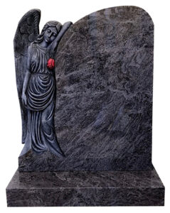 Polished Granite Hand Carved Sleeping Angel holding Red Rose shaped Headstone