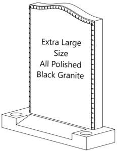 Extra Large Size All Polished black granite headstone with a hand polished rope effect around the edges of the memorial