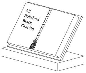 Polished Black Granite Token Book Gravestone
