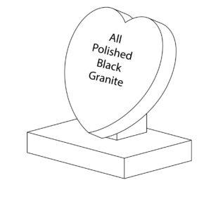 Polished Black Granite Token Heart Gravestone