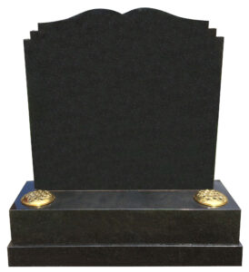 All Polished Black Granite Special Lawn Type Headstone with dipped centre and double checked shoulders shaped top