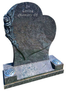 All Polished Bahama Blue Granite Heart Shaped Gravestone with Hand Carved Roses