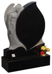 Hand carved polished black granite Angel and Teardrop shaped headstone-Web