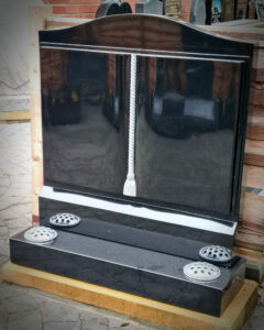 Polished Black Granite Book Gravestone with shaped pages and worked cord and tassle