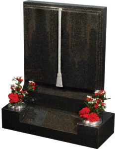 All polished dark grey granite fully worked book headstone including carved cord and tassle