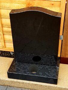 All Polished Black Granite Small Ogee Gravestone