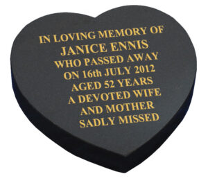 All Polished Black Granite Heart Shaped Tablet Marker Memorial