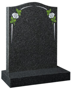 All Polished Flint Grey Granite Ogee Gravestone with Painted Rose Design and Integral Arch