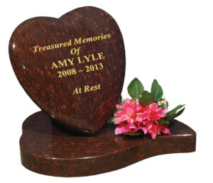 Rosewood Red Granite Rounded Cushioned Heart Tablet Gravestone