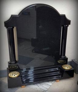 Polished black granite column memorial featuring Stairway to Heaven base