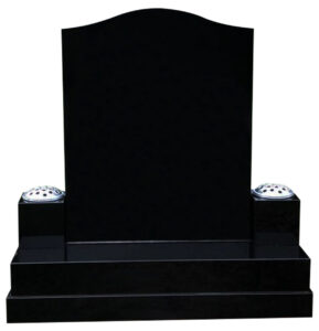 All Polished Black Granite Ogee Gravestone with two flower holders